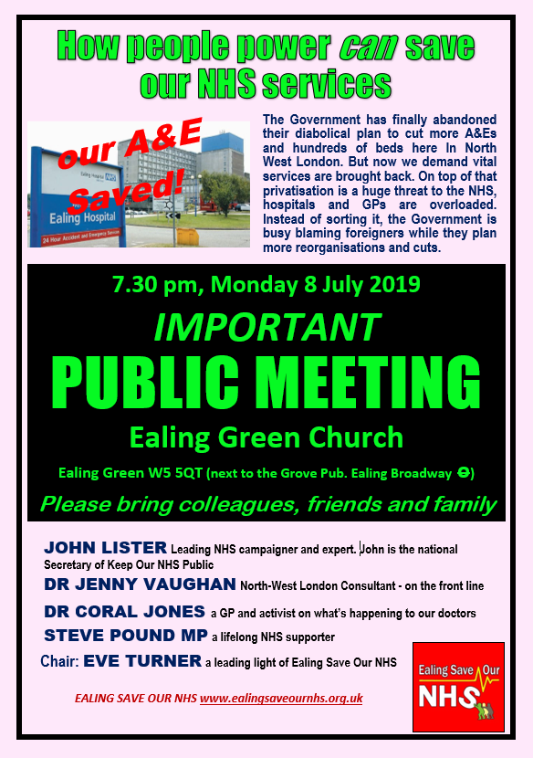 Ealing Save our NHS meeting poster